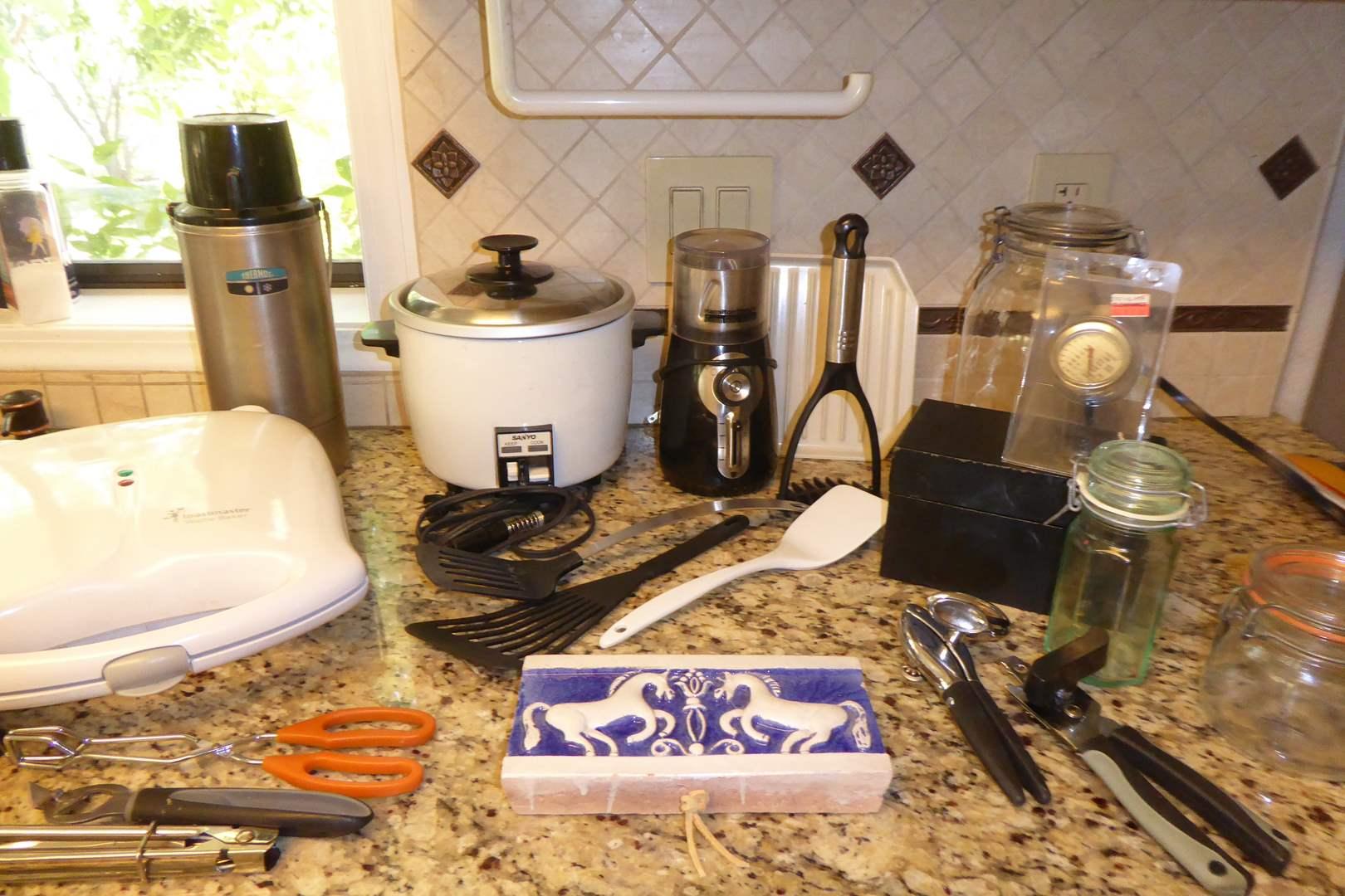 Lot # 13 - Sanyo Rice Cooker, Waffle Maker, Coffee Grinder & Cute Ceramic Horse Hanging  (main image)