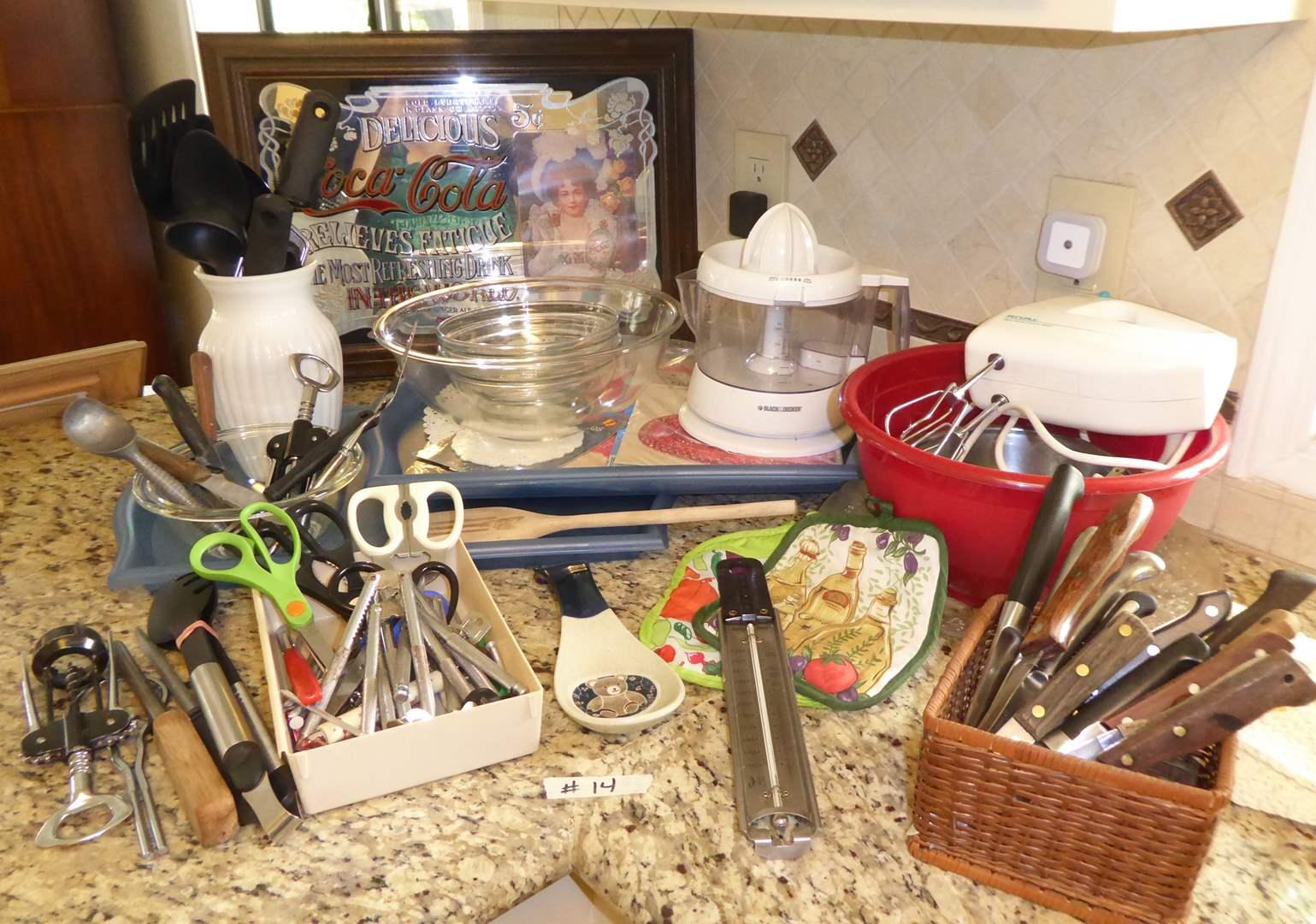 Lot # 14 - Coca-Cola Ad Mirror & Hand Mixer, Knives & Utensils  (main image)