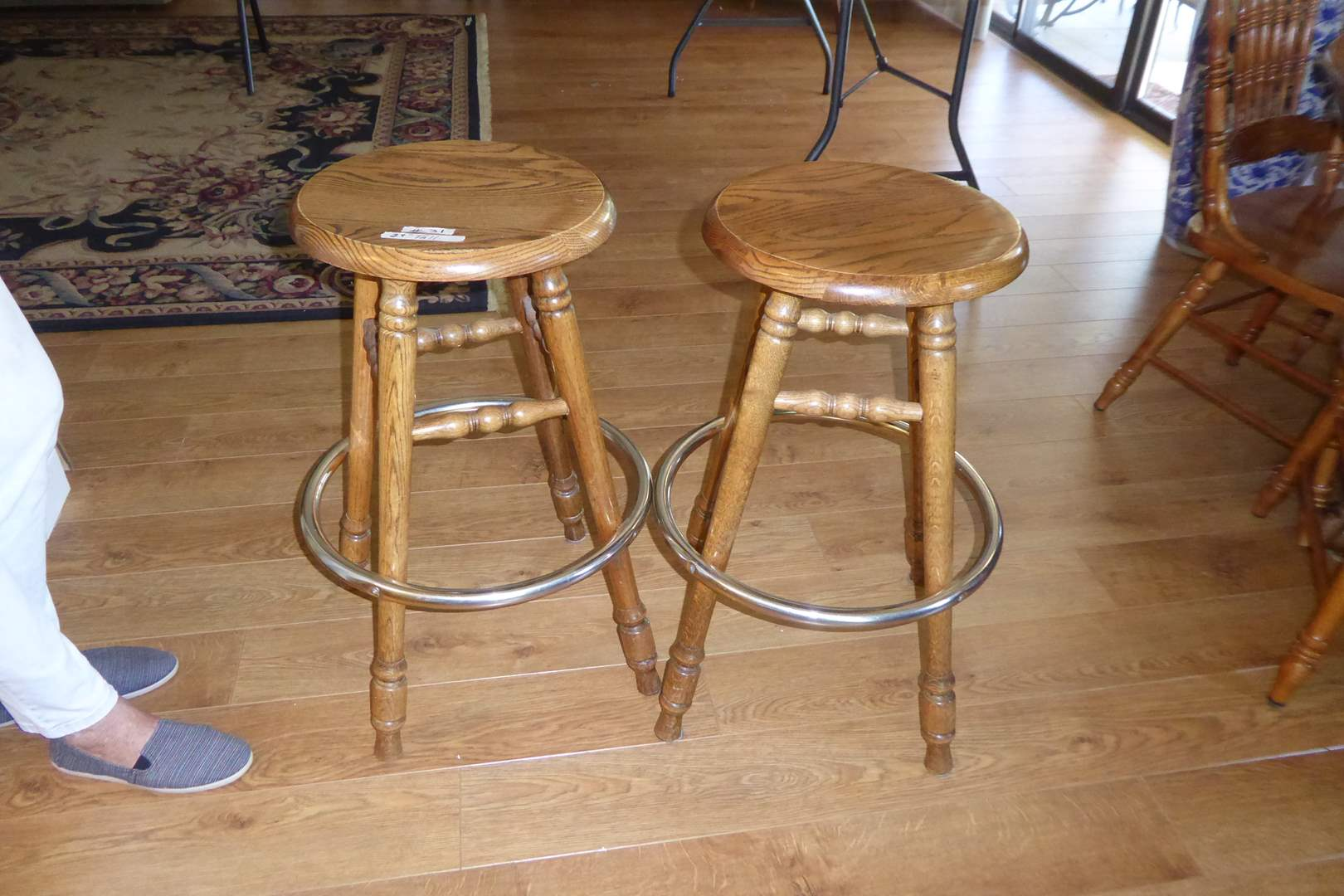 Lot # 31 - Two Matching Oak Swivel Bar Stools  (main image)