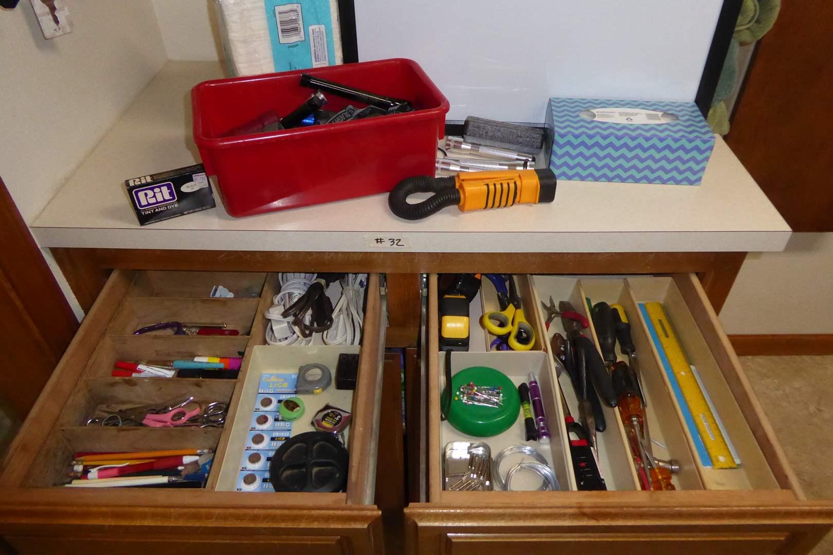 Lot # 32 - Flashlights, White Board, Scissors, Tools & More  (main image)