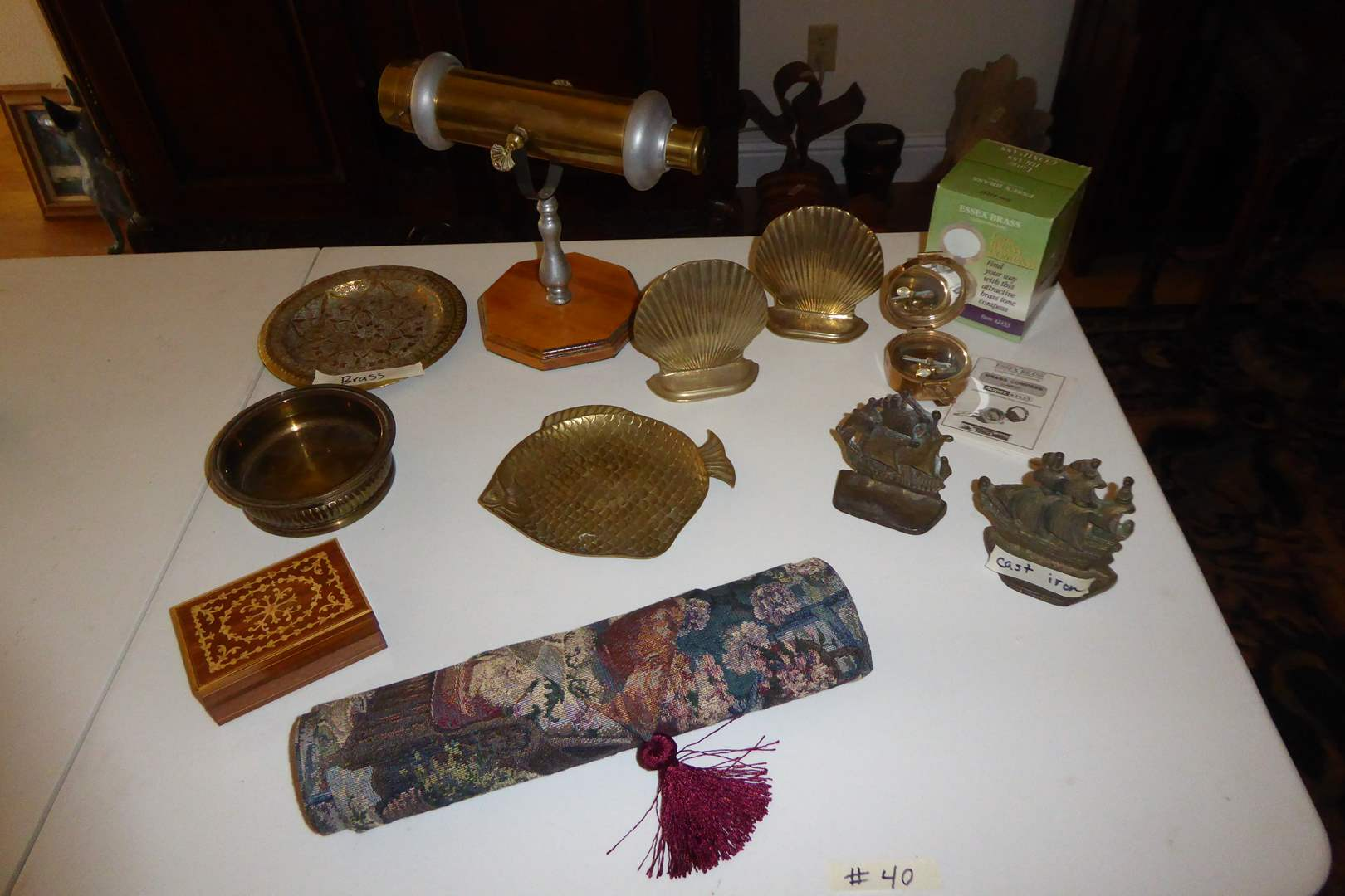 Lot # 40 - Brass Kaleidoscope, Book Ends, Compass & Decorative Plates  (main image)