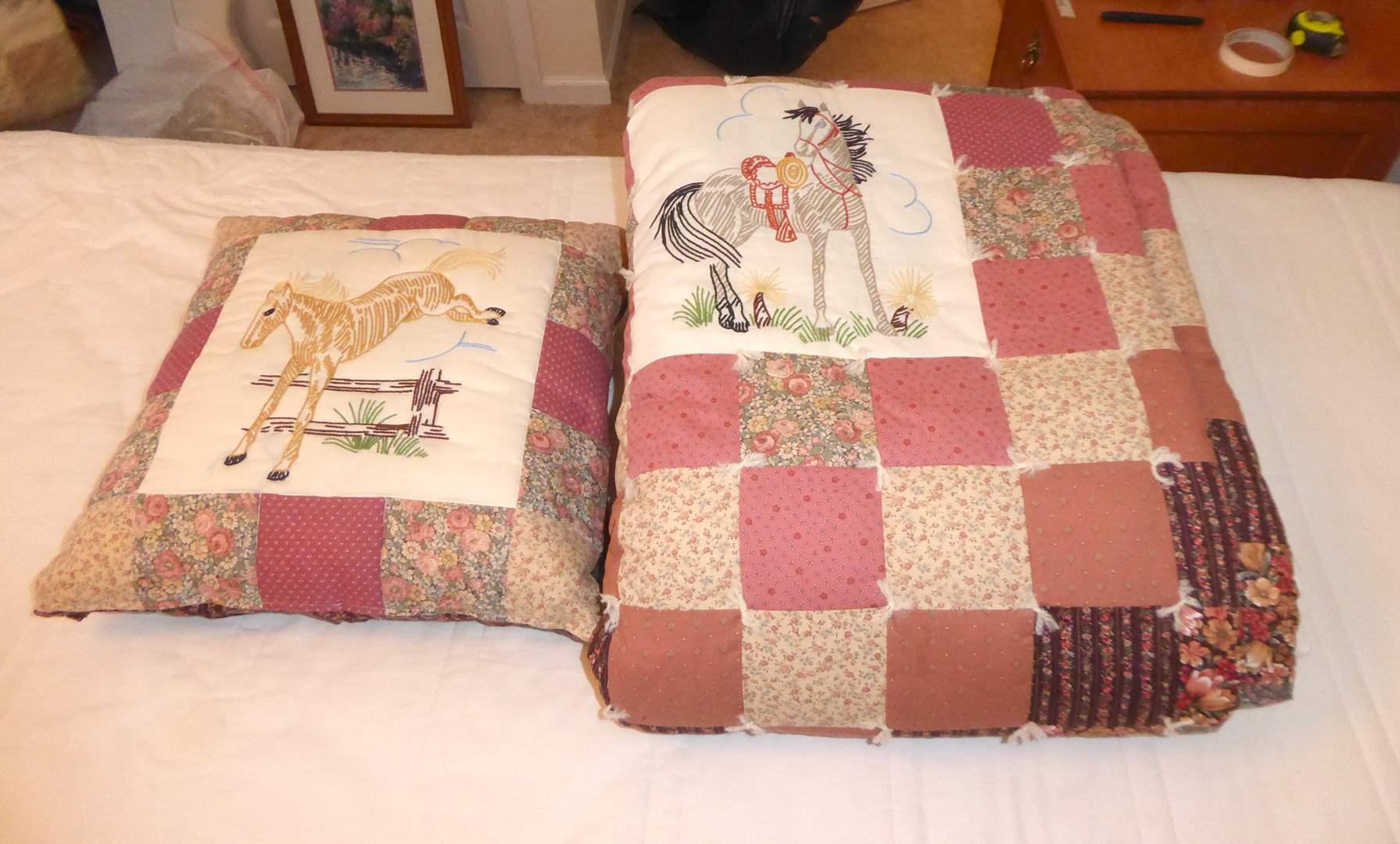 Lot # 208 - Handmade Horse Quilt & Matching Pillow (Twin)  (main image)
