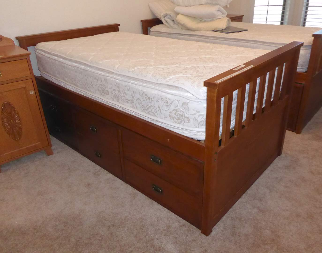 """Lot # 211 - """"Tradewins"""" Solid Wood Mission Rake Bed W/Set Of Drawers (Twin) (main image)"""