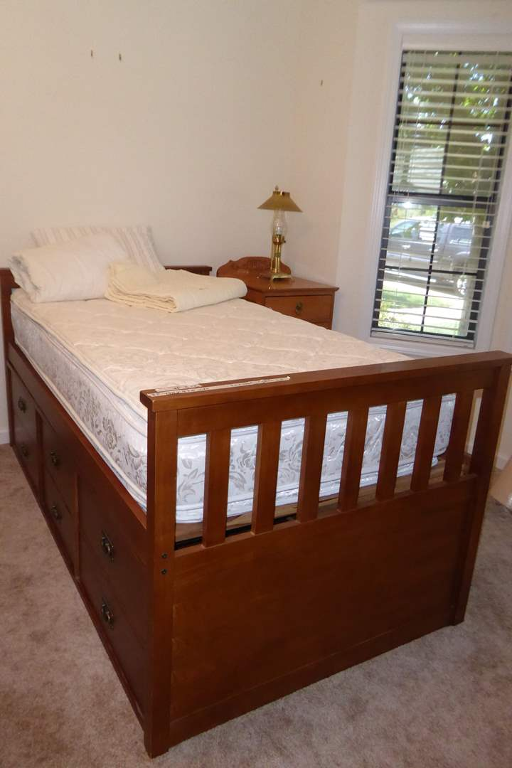 """Lot # 212 - """"Tradewins"""" Solid Wood Mission Rake Bed W/Set Of Drawers (Twin) (main image)"""