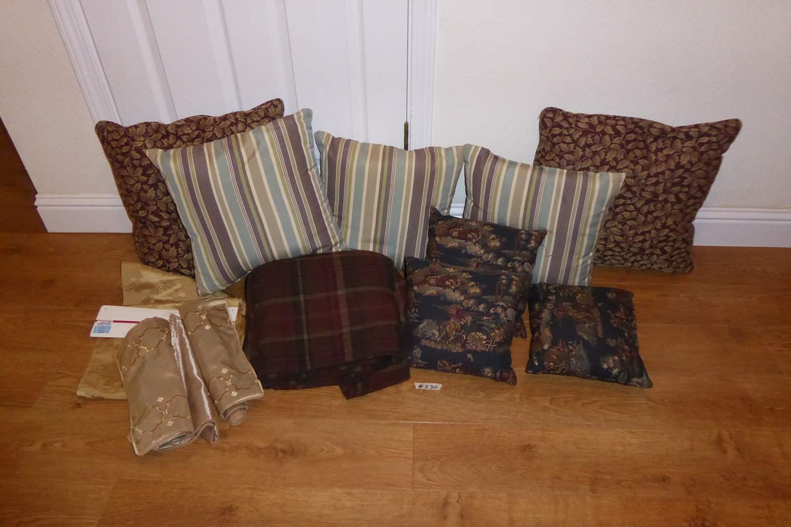 Lot # 230 - Throw Pillows, Throw Blanket & Table Runner  (main image)