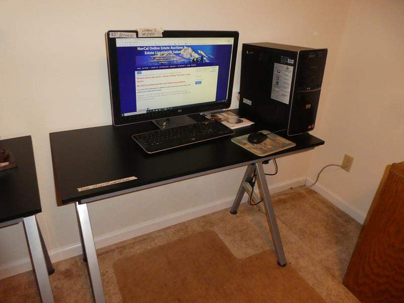 "Lot # 250 - Nice Desk & Windows 7 HP Computer System, 25"" Moniter, Mouse & KeyBoard (main image)"