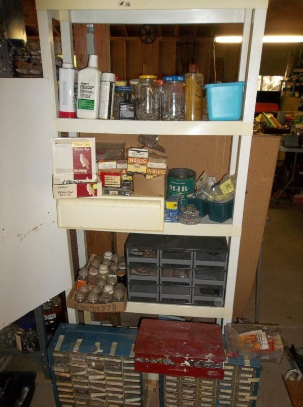 Lot #16 Plastic Shelf with Contents - Large lot of Hardware, Nails, Screws (main image)