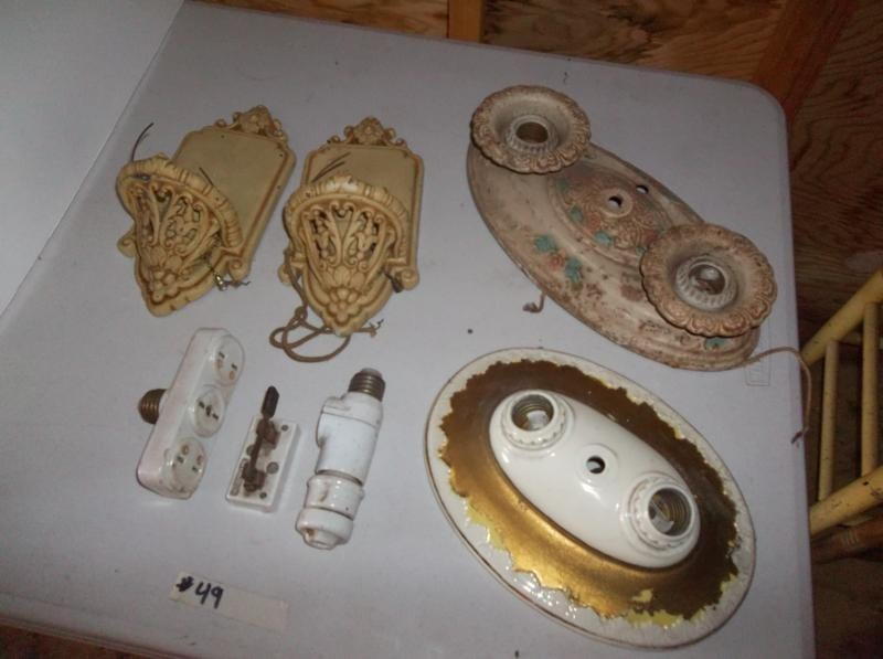 UPSTAIRS Lot #49 Collectible Lot of Antique Light Fixtures, Metal Wall Sconces (main image)