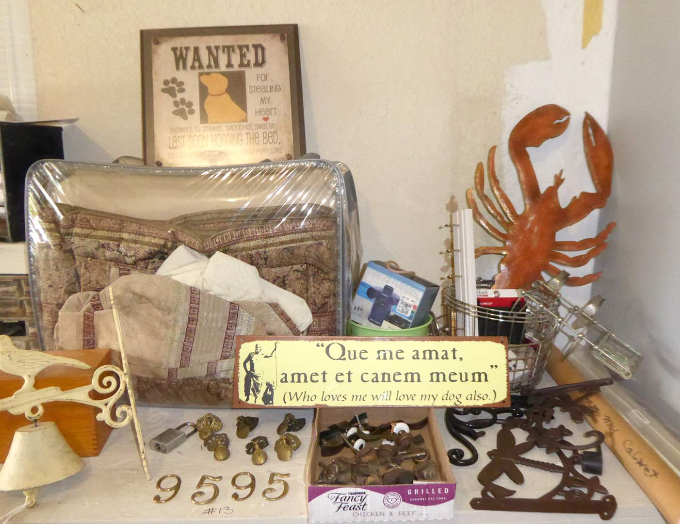 Lot # 13 - Queen Comforter, Metal Knobs, Vintage Bathtub Soap Holder & Other Metal Decor  (main image)