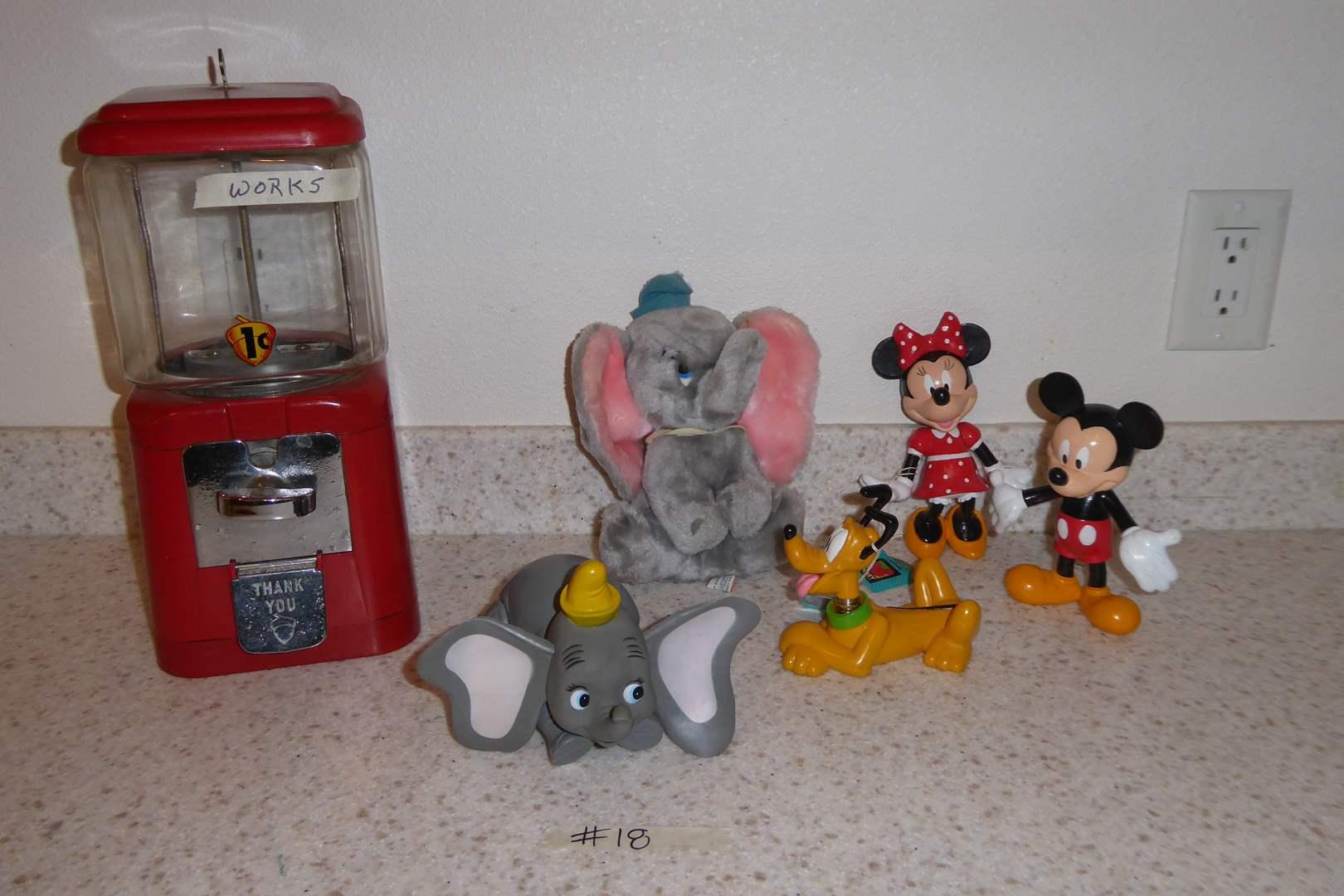 "Lot # 18 - ""Oak Manufacturing Co INC"" Table Top Bubble Gum Machine & Disney Figurines  (main image)"