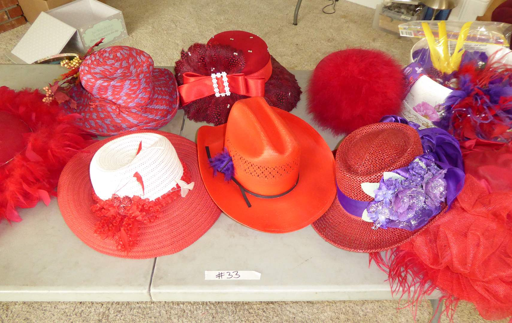Lot # 33 - Red Hats & Feathers  (main image)