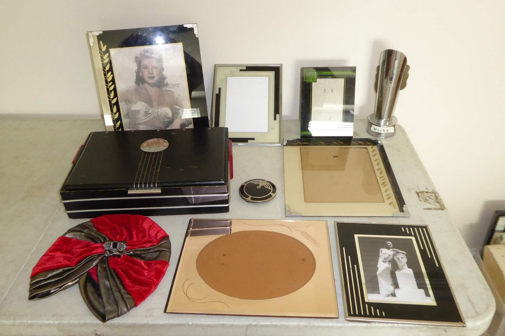 Lot # 35 - Art Deco Lot - Frames, Box & Lamp  (main image)