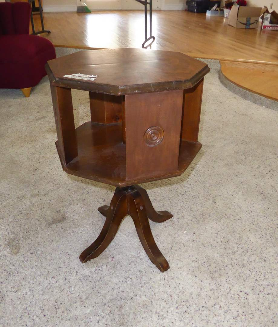 Lot # 45 - Cute Vintage Wooden Table With Rotating Top  (main image)