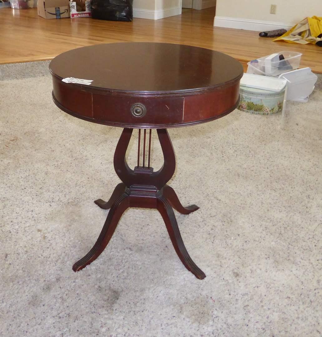 Lot # 46 - Small Mahogany Drum Table W/Harp Base  (main image)