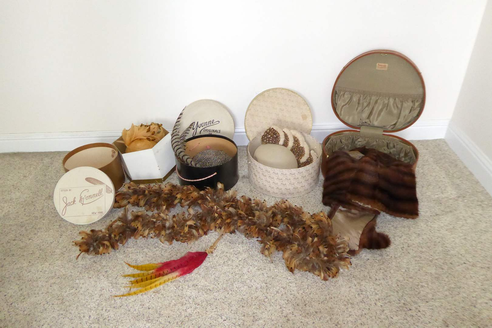 Lot # 105 - Beautiful Vintage Hats, Kerrybrook Fur & Feather Boa  (main image)