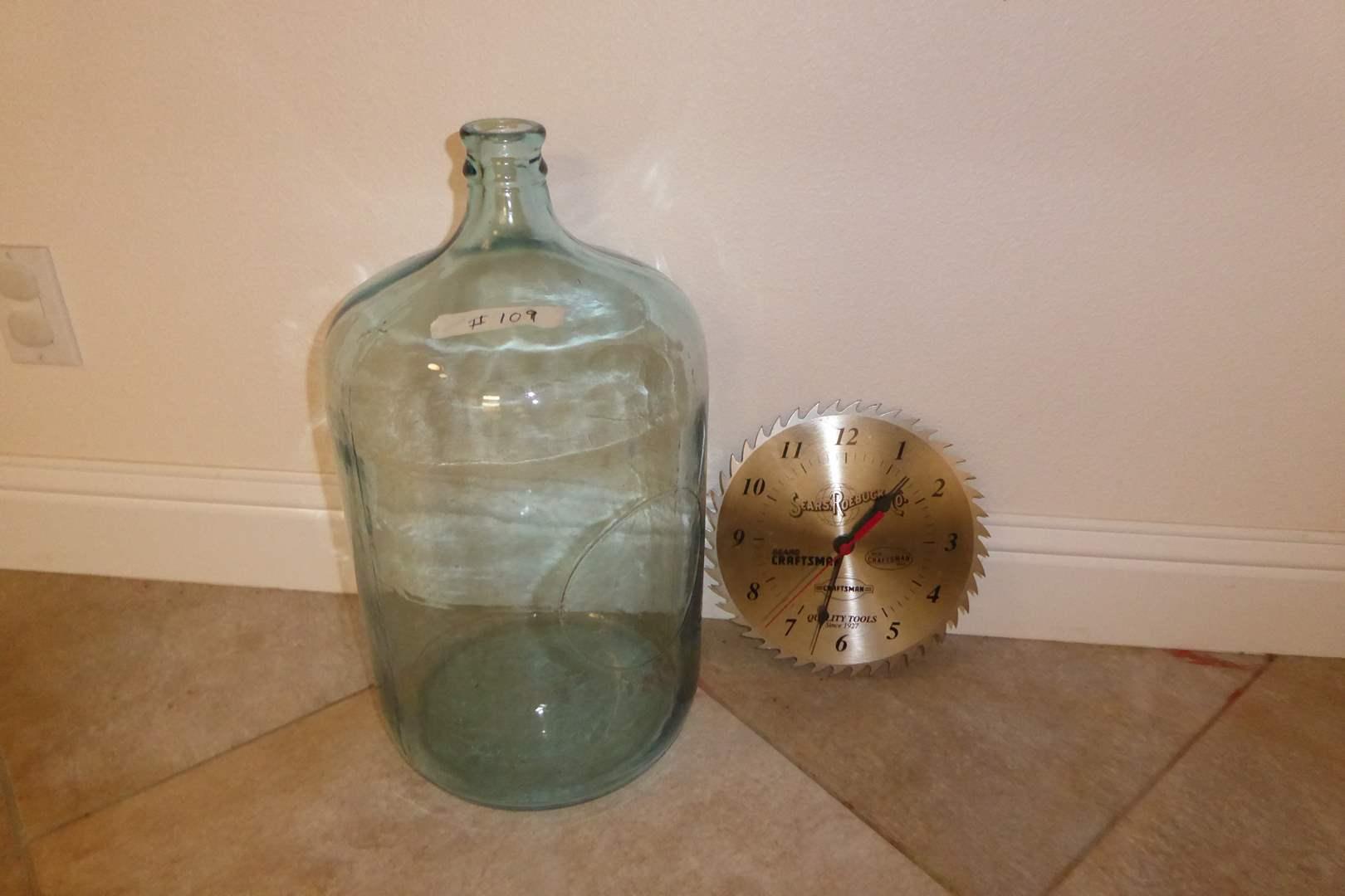Lot # 109 - 5 Gallon Jar & Sears Blade Clock   (main image)