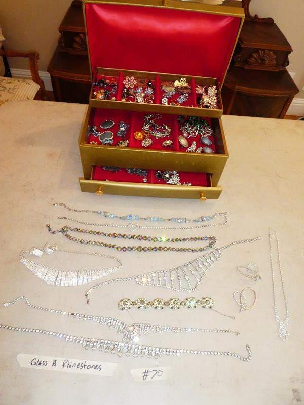Lot # 70 - Jewelry Box, Glass & Rhinestone Necklaces and Earrings (main image)
