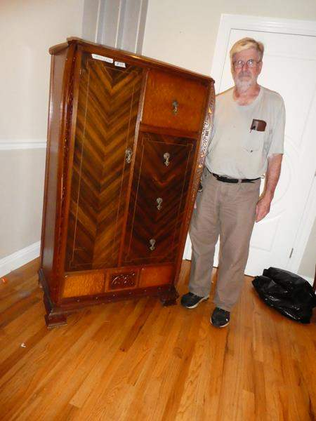 Lot # 52 - Lovely Antique 'The Henry Joseph Furniture Inc.' Wooden Wardrobe w/Four Dovetailed Drawers (main image)