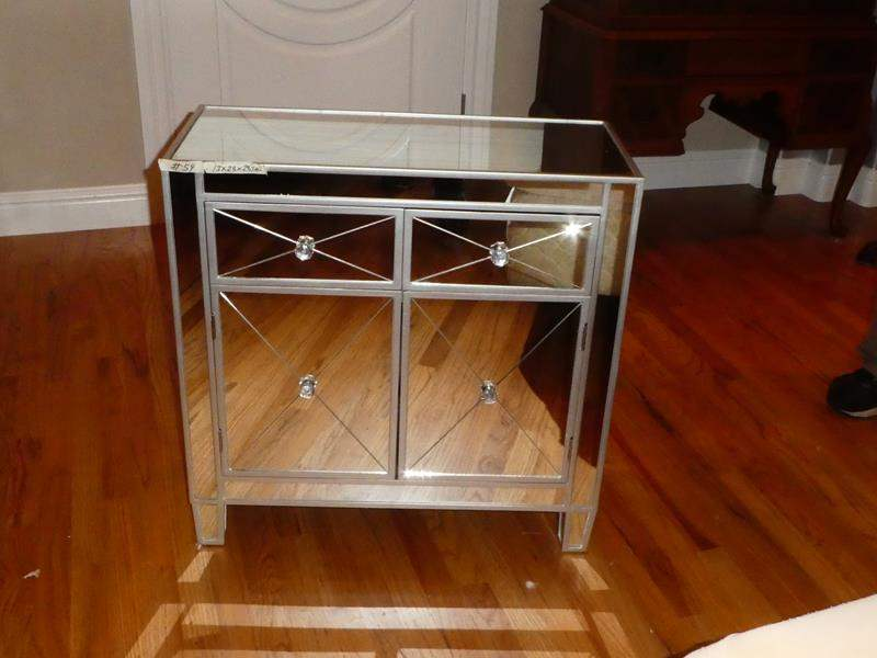 Lot # 54 - Mirrored Nightstand w/Two Drawers & Cabinet (main image)