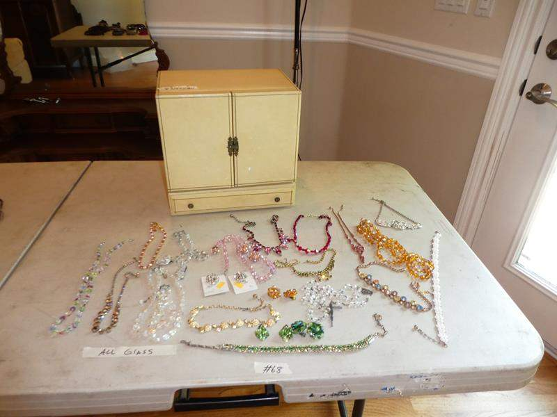 Lot # 68 - Jewelry Box, Vintage Glass Beaded Necklaces & Earrings (main image)