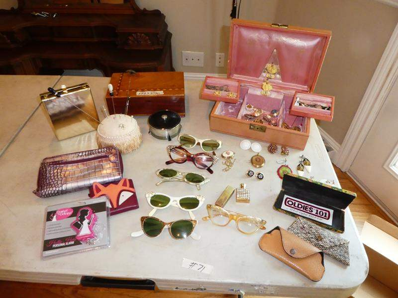 Lot # 71 - Vintage Sunglasses, Earrings, Pin Cushion & Jewelry Boxes (main image)