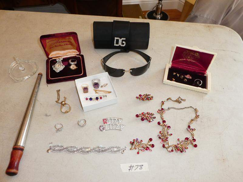 Lot # 78 - Costume Jewelry Brooches, Rings, Necklaces, Brooch & Pendant Watches, DG Sunglasses, Vintage Ring Box & Earrings (main image)