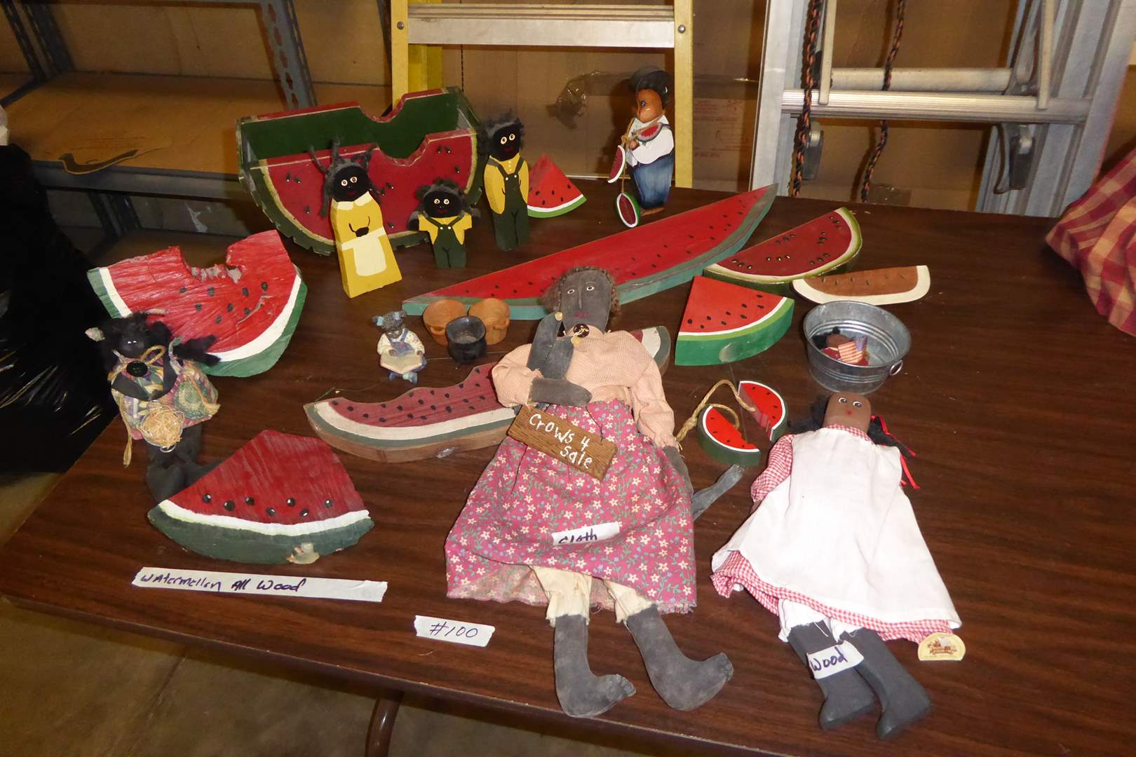 Lot # 100 - Cloth & Wood Dolls & Wooden Watermelon  (main image)