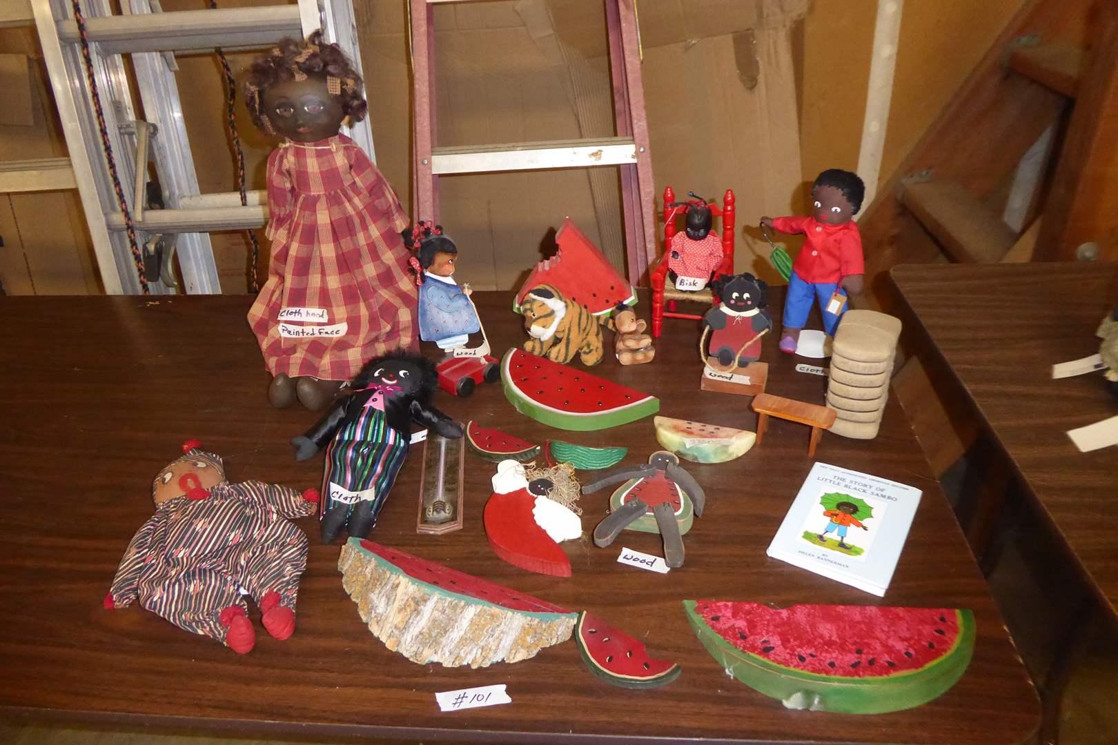 Lot # 101 -Golliwog Rag Dolls, Wood & Cloth Dolls & Wooden Watermelon  (main image)