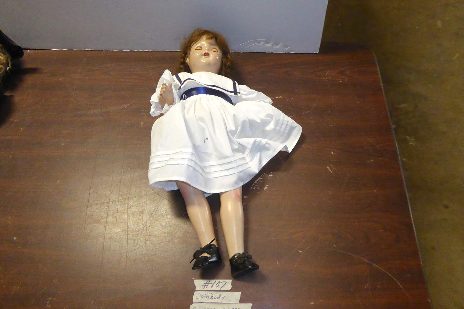 Lot # 107 - Vintage Doll Composition W/Cloth Body  (main image)