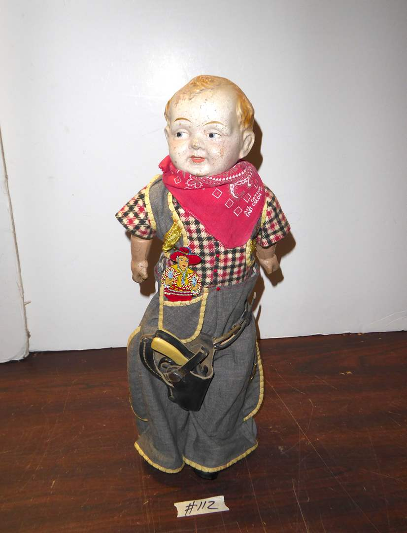 "Lot # 112 - Vintage ""Trion Toy Co"" Doll In Cowboy Clothes W/Gun & Metal Whistle   (main image)"