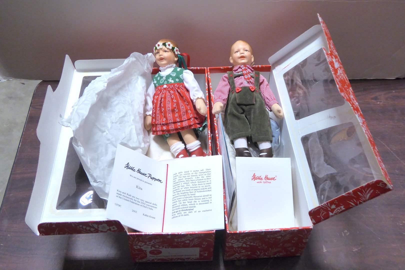 Lot # 113 - Two Kathe Kruse Puppen Dolls (Kira & Rudy) W/Boxes  (main image)