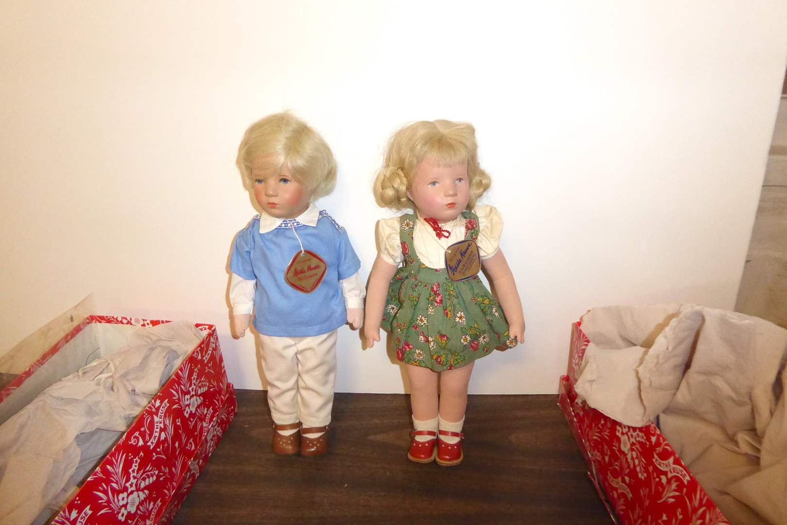 Lot # 114 - Two Kathe Kruse Stoffpuppe Dolls W/Boxes  (main image)