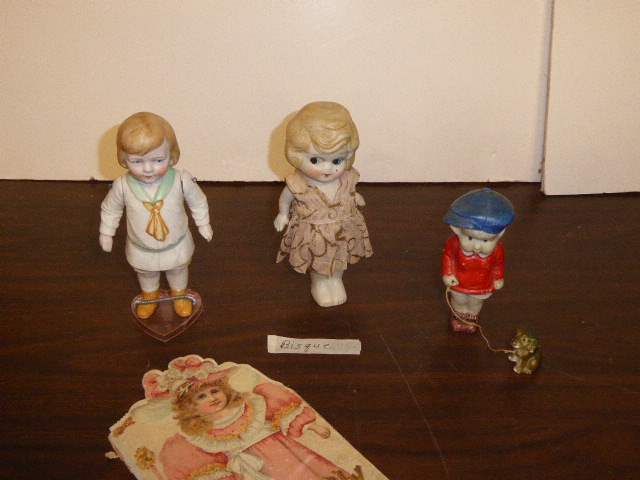 """Lot # 128 - Bisque Figurines & Antique """"Your Dolly"""" Book (main image)"""