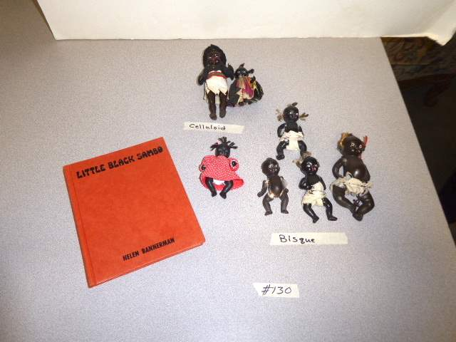 Lot # 130 - Vintage Celluloid & Bisque Dolls & Little Black Sambo Book  (main image)