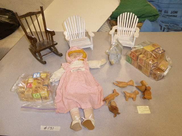 Lot # 131 - Vintage Wooden Blocks, Wooden Toys & Doll Furniture  (main image)