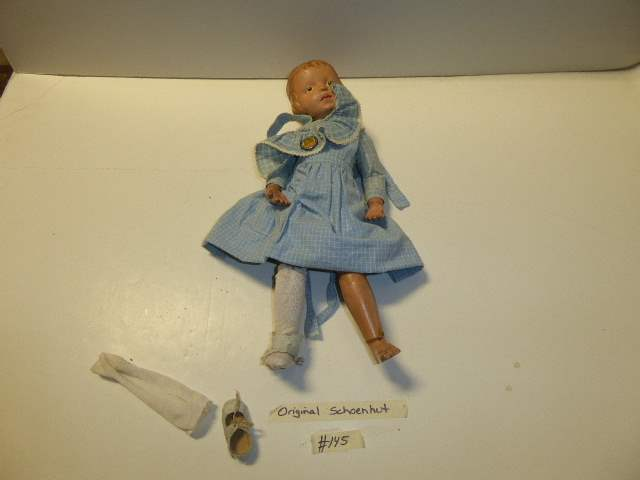 Lot # 145 - Schoenhut Carved Hair Doll (Pink Bow)  (main image)