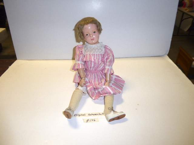 "Lot # 146 - ""Early"" Schoenhut Wigged Doll W/Original Hair & Shoes  (main image)"