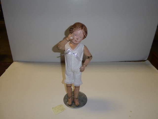 """Lot # 155 - Schoenhut """"Early"""" Carved Hair Doll (Pink Ribbon)  (main image)"""