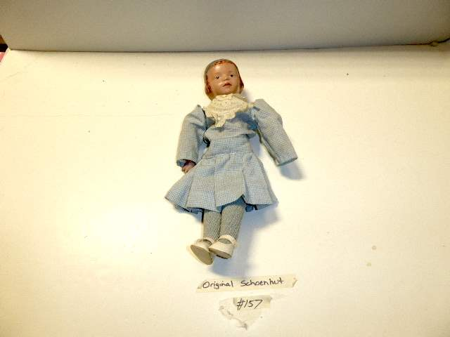 Lot # 157 - Schoenhut Carved Hair Doll (Blue Bow)  (main image)