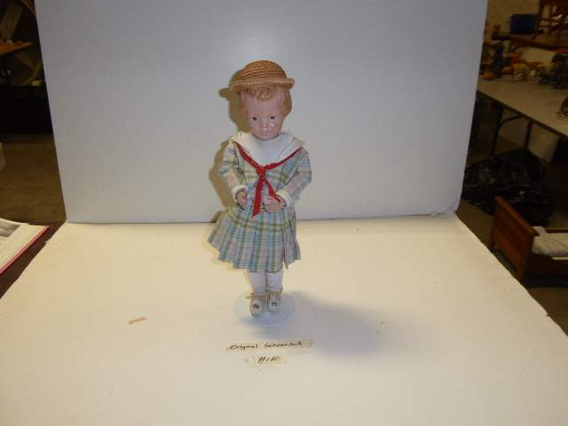 """Lot # 160 - """"Early"""" Schoenhut Carved Hair Doll (Pink Side Bow)  (main image)"""