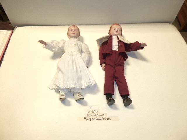 "Lot # 182 - Two ""1998"" USPS Reproduction Schoenhut Dolls  (main image)"