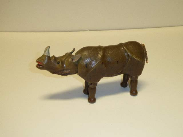 Lot # 219 - Schoenhut Rhinoceros (Glass Eyes)  (main image)
