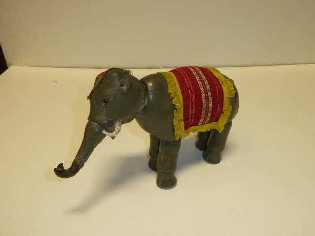 Lot # 235 - Schoenhut Elephant (Glass Eyes) Rubber Tip Trunk (main image)