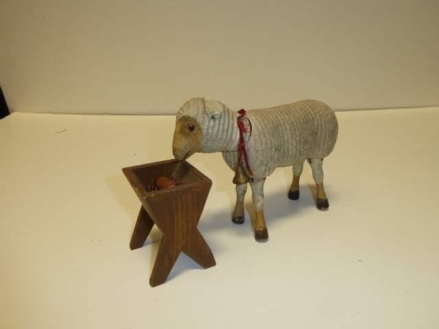 Lot # 254 - Schoenhut Sheep (Glass Eyes) & Feeding Trough  (main image)