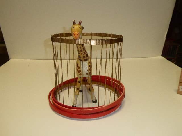 Lot # 257 - Schoenhut Giraffe (Painted Eyes) & Schoenhut Cage (main image)