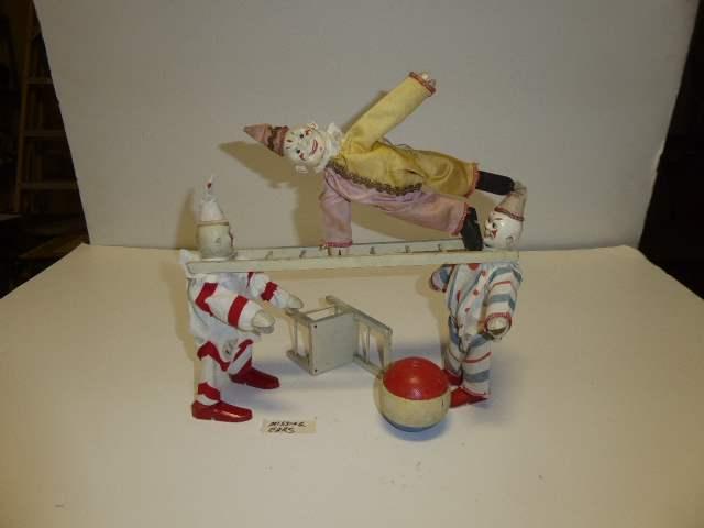 Lot # 290 - Schoenhut Clowns, Ball, Chair & Ladder  (main image)