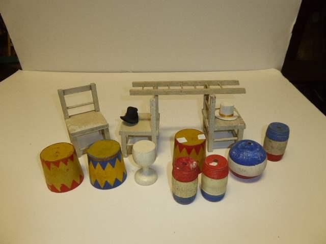 Lot # 303 - Schoenhut Accessories (Chairs, Ladder, Pedestals, Barrels, Goblet & Ball) (main image)