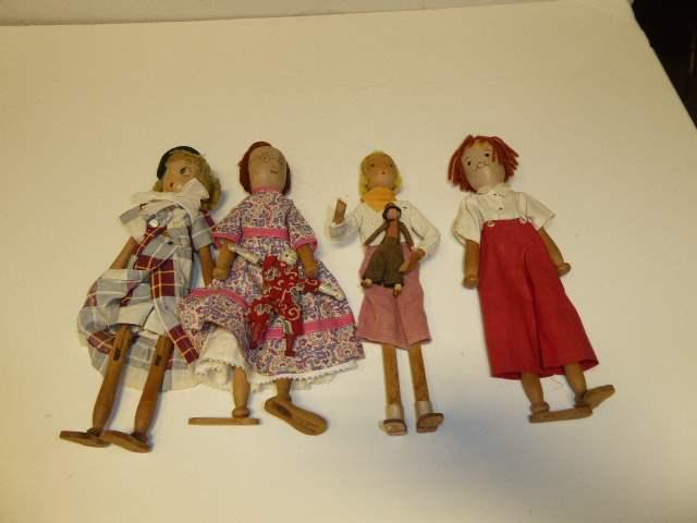 Lot # 313 - Four Schoenhut Pinn Dolls  (main image)