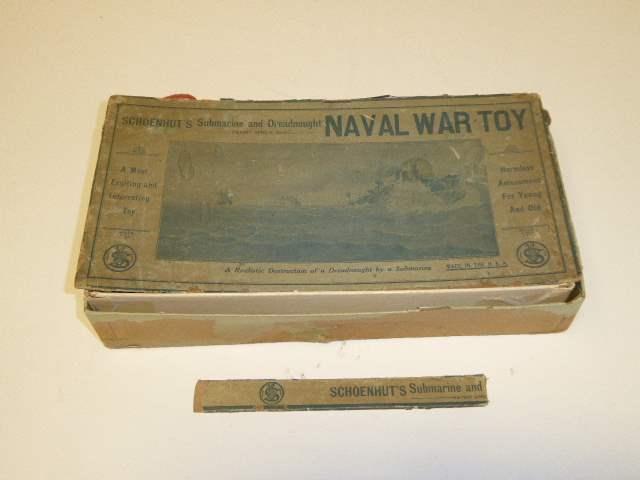 Lot # 317 - Schoenhut's Submarine & Dreadnaught Naval War Toy W/Box  (main image)