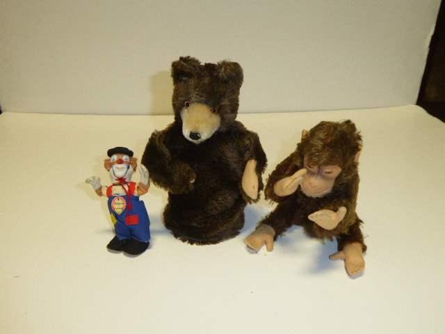 Lot # 327 - Steiff Monkey, Bear Puppet & Clown  (main image)